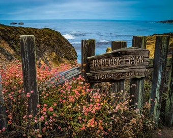 Personalized Wedding Gift Big Sur Trail Sign Trail Carved Names Ocean Photo Anniversary Gift Valentines Day pp163