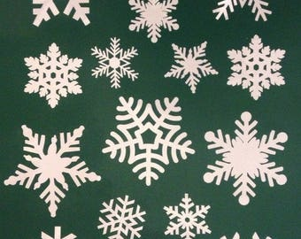 80 Snowflake Window Clings Christmas Stickers - Reusable Decorations - 1, 16, 32, 48, 64 or 80