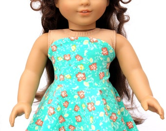 Fits like American Girl Doll Clothes - Simply Summer Bandeau Dress in Hibiscus   18 Inch Doll Clothes RTS