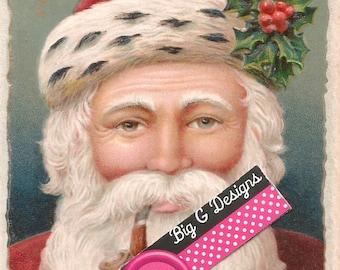 Vintage Christmas postcard Santa and holly digital download printable instant image