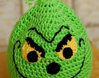 Anti-Christmas Grump Hat- MADE to ORDER- Newborn to Adult sizes, Ear Flap or Beanie style