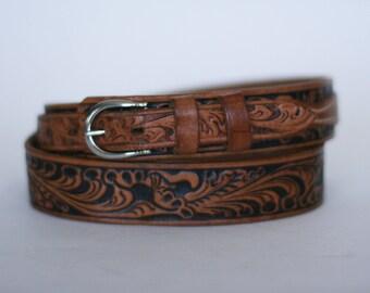 vintage justin tooled leather belt