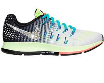 Bling Nike Air Zoom Pegasus 33 Shoes with Swarovski Crystals * Grey Yellow  * Bedazzled w