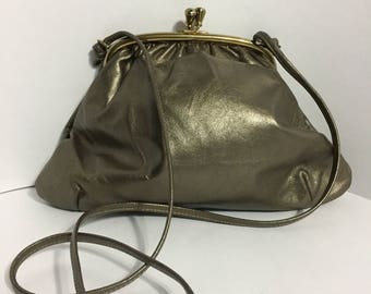 Mastercraft Canada - Bronze Leather - Bronze Shoulder Purse - Gold Accent