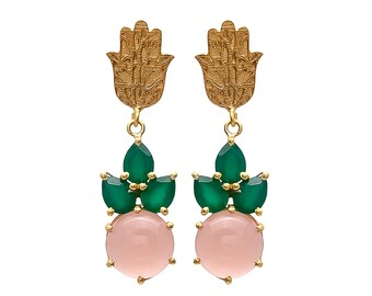 Beautiful Pink Chalcedony & Green Onyx Gemstone 925 Sterling Silver Gold Plated Earring Hamsa Hand