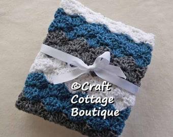 READY to SHIP Crochet Baby Blanket Travel / Stroller / Car Seat / Crib Blue Gray White Grey Boy Pram Nursery Decor Baby Shower Gift Knit