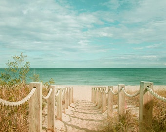 Sand Dune Fence Photograph Beach Path to Atlantic Ocean Art Photograph