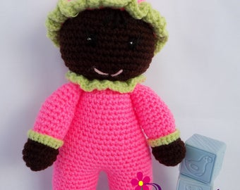 Baby Girl Doll  Crochet Baby Girl Doll  My First Doll  Stuffed Baby Girl Watermelon Doll  Plush Watermelon Baby Girl Doll  Crochet Doll