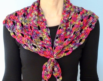 Handmade Multicoloured Crocheted Shawl