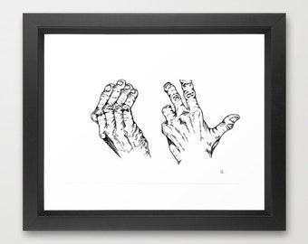 Guilty hands. Black and white illustration