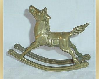 Vintage Brass Rocking Horse Desk Décor