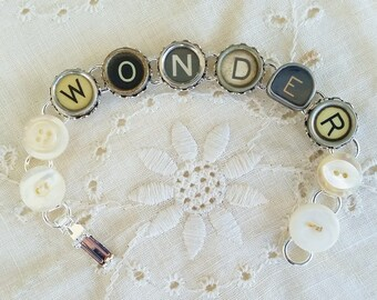 WONDER Typewriter Bracelet, Antique Typewriter Jewelry, Silver Bracelet, Upcycled Typewriter Keys, Repurposed Button Jewelry, Funky Types