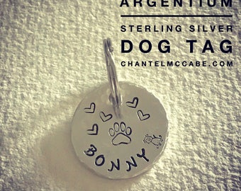 Argentium sterling silver handstamped dog or cat pet tag with stainless steel keyring. Perth, Western Australia