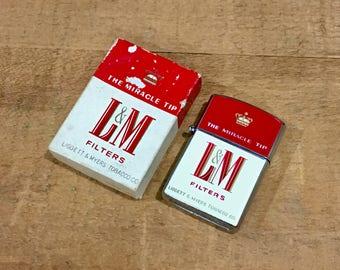 Vintage L&M Advertising Cigarette Lighter in Original Box / Never Fired