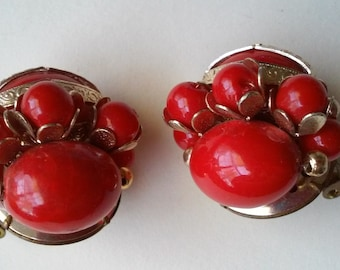 Vintage Red Gold Beaded Cluster Clip on Earrings signed Hong Kong