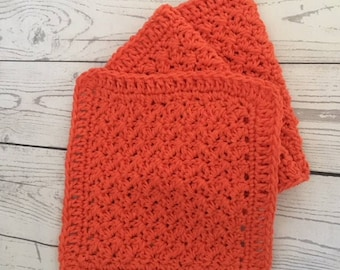 Orange Kitchen Wash Cloths Cotton Dish Cloths Wash Cloth Set of 3 Made to Order