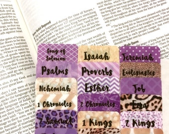 "STANDARD Purple/Leopard/Gold ""Queen Esther"" Multi-Hued Books of Bible Tabs by Victoria Anderson"