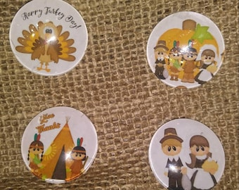 Thanksgiving Magnets ~ Happy Turkey Day Magnets ~ Thanksgiving Decor