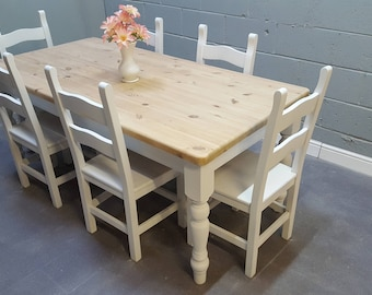 Beautiful 6ft Farmhouse Shabby Chic table & chairs