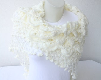 Wedding Shawl in White,Mother's day Gifts, Wedding Shrugs, Bride Scarf