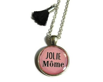 CHILDREN NECKLACE - jolie mome - french quote - pink necklace - quote jewelry - necklace - girls necklace - kids jewelry