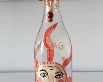 Hand Painted Glass Bottle - Great for Olive Oil- Vinegar - Soap Dispenser - Home Decor