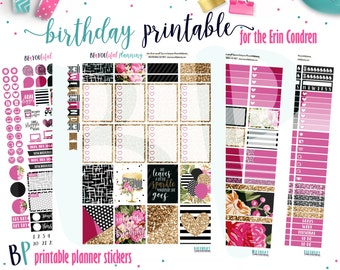 Birthday | Weekly Printable Planner Kit | Planner Stickers | Cut Line Files | for use with Erin Condren | Planner Stickers Printables