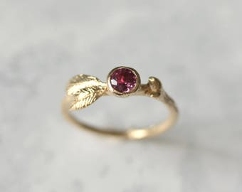 Gold Ruby ring -  Ruby ring - Branch ring - Woodland jewellery - Woodland wedding