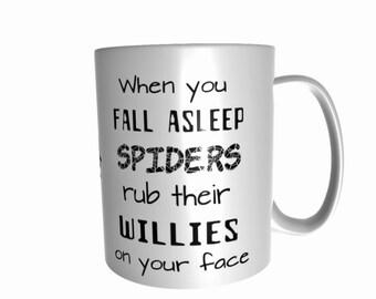 funny when you sleep spiders rub their willies on your face arachnid fan tarantula jumping spider ceramic mug