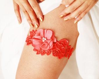 Wedding Garter Bridal Garter Belt - Coral Garter Lace Garter - Flower Floral Garter - Prom Garter Rustic Boho Bridal