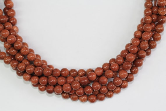 """Gold Sand Stone 8mm smooth round beads 16"""" length full strand"""
