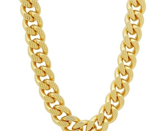 14K Gold Plated 11mm Curb Chain with Diamond Cuts, Cuban Link, Thick Hip Hop, High Fashion, Gangster Chain Necklace