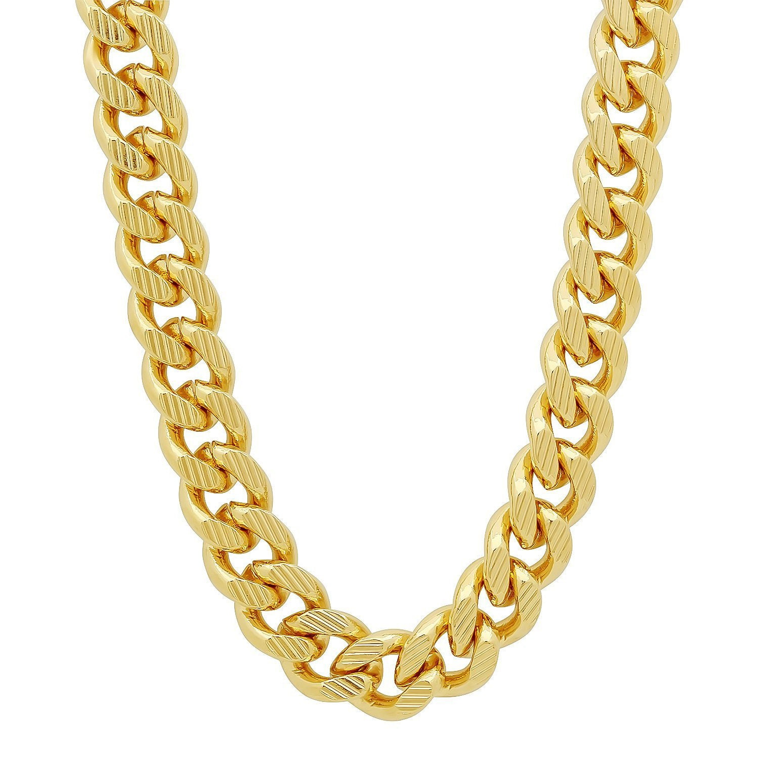 14k gold plated 11mm curb chain with diamond cuts cuban link. Black Bedroom Furniture Sets. Home Design Ideas