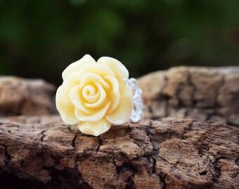 Rose Flower Ring, Floral Ring, Flower Statement Ring, Rose Statement Ring, Romantic Ring, Ring For Her, Gardener Ring, Bridesmaid Ring
