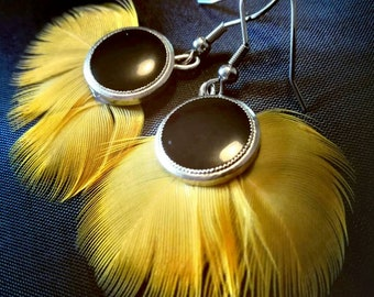 Yellow Parrot feather earrings.