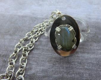 Labradorite Necklace - Long Silver Necklace - Handcrafted Labradorite Necklace