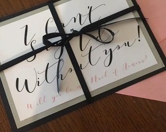 Custom Made Bridesmaids asking cards