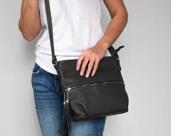 CROSSBODY FRINGE BAG, Leather Tassels Dark Gray Crossbody Leather Bag Leather Purse Crossbody Leather Shoulder Bag Everyday Bag Gift for Her