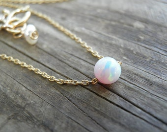 White Pink Opal Necklace, Opal Necklace, Opal Ball Necklace, Opal Gold Necklace, Opal Jewelry, Tiny One 4mm Opal Bead Necklace, Dot necklace