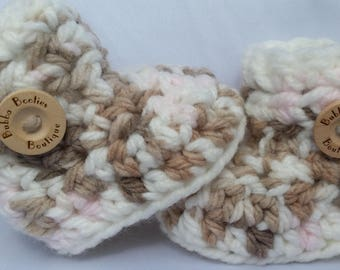 Handcrafted pink, brown and white baby booties with white trims