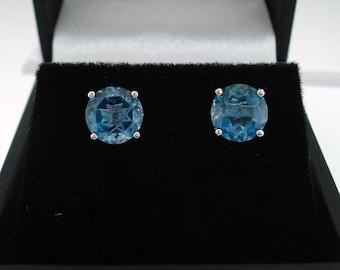 London Blue Topaz Stud Earrings, Blue Topaz Earrings, 14K White Gold 1.70 Carat Handmade