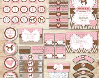 Printable Pink & Brown Horse Birthday Party Package - Invitation Thank You Cupcake Topper and Wrapper Bottle Labels Napkin Rings Bag Topper