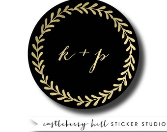 Black and gold wedding stickers, black and gold favor black and gold wedding idea rose gold favor black and gold foil labels, gold and black