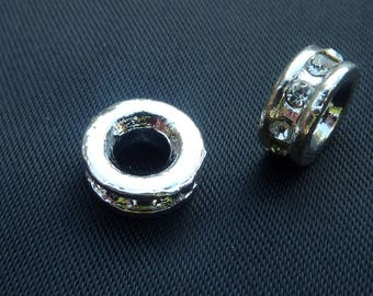 2 beads 10 mm silver plated and Crystal rhinestones