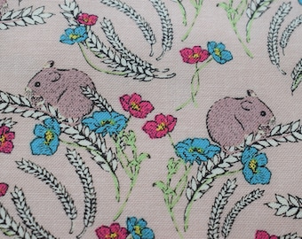 mouse fabric, Quilting fabric, Makower fabric,  beige fabric, cotton fabric, woodland creature fabric, fabric by the metre, poppy fabric