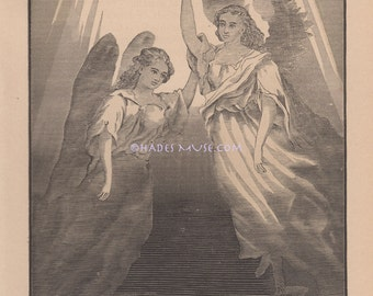 Angels Transcend Into Light-1882 Antique Vintage Art Print-Gothic Ephemera-Old Picture-Goth Realm-Engraving-Heaven-Death-Dying