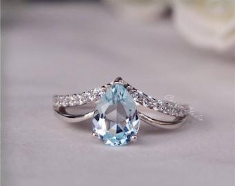 Pear Sky Blue Topaz Ring Topaz Engagement Ring/ Wedding Ring/ Anniversary Ring/ Birthday Present Holiday Gift