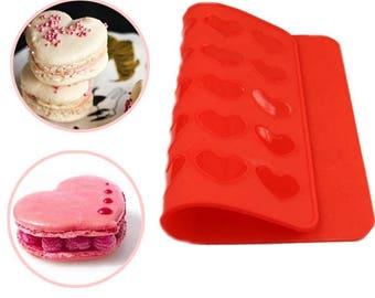 Heart Macaron Baking Mold Silicone Mat Pastry Sheet Muffin Tray BG917412