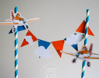 Planes Banner Cake Topper, Clouds and planes. Birthday Party, Birthday cake banner, Birthday Cake Topper.