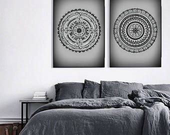 "2 Original Drawings - Mandala - 12x17""  Art Print, Wall Decor, Illustration"